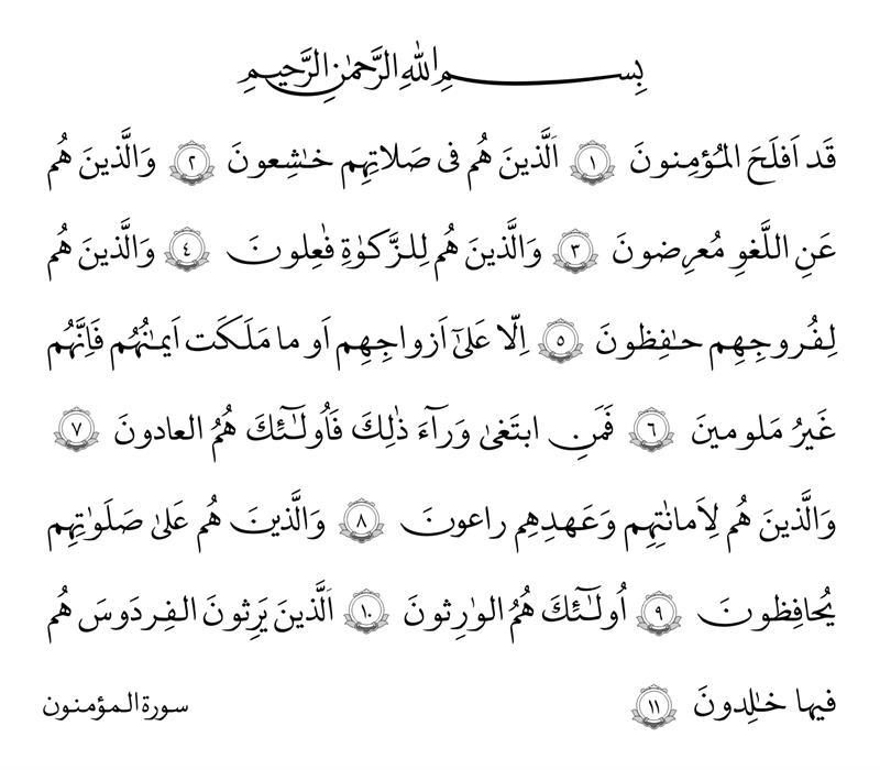 سوره المؤمنون آیات ۱ تا ۱۱